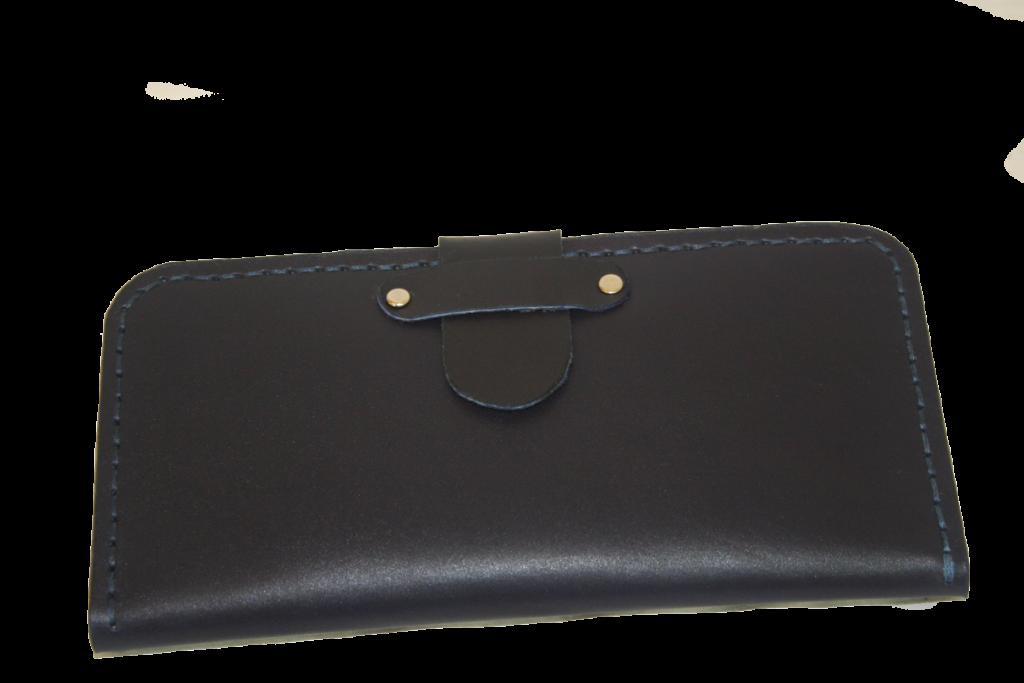 کیف پول دست دوز چرمی زنانه سرمه ای مدل P1-9602