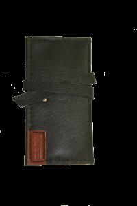 کیف پول دست دوز چرمی زنانه مشکی مدل P0-9603