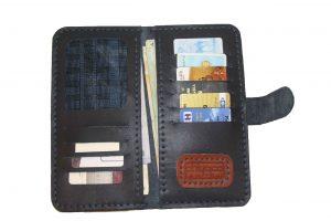 کیف پول دست دوز چرمی مردانه سرمه ای مدل P1-9602