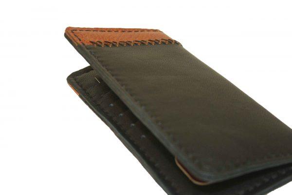کیف پول دست دوز چرمی مردانه دورنگ مدل P1-9604