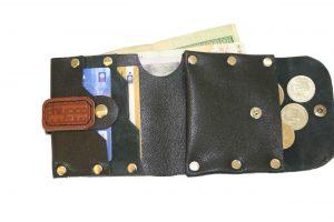 کیف پول چرمی دست دوز مردانه مشکی مدل P1-9605