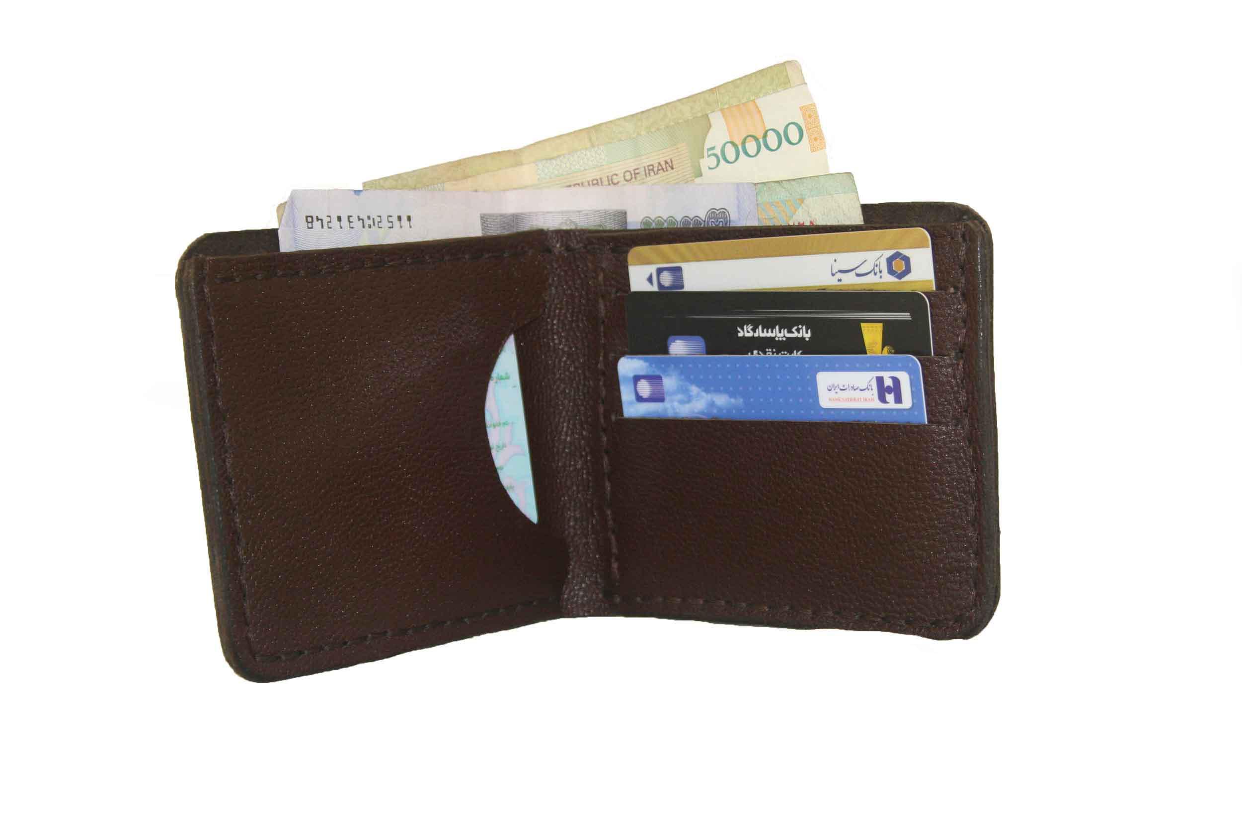 کیف پول جیبی چرمی دست دوز مردانه قهوه ای مستطیلی | P1-9607