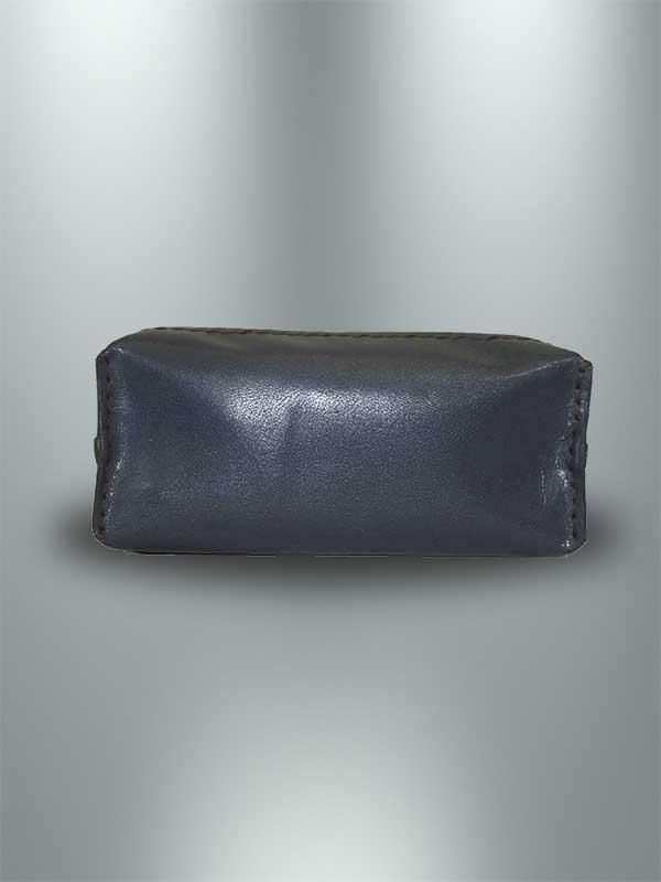 کیف پول دست دوز چرمی زنانه سرمه ای