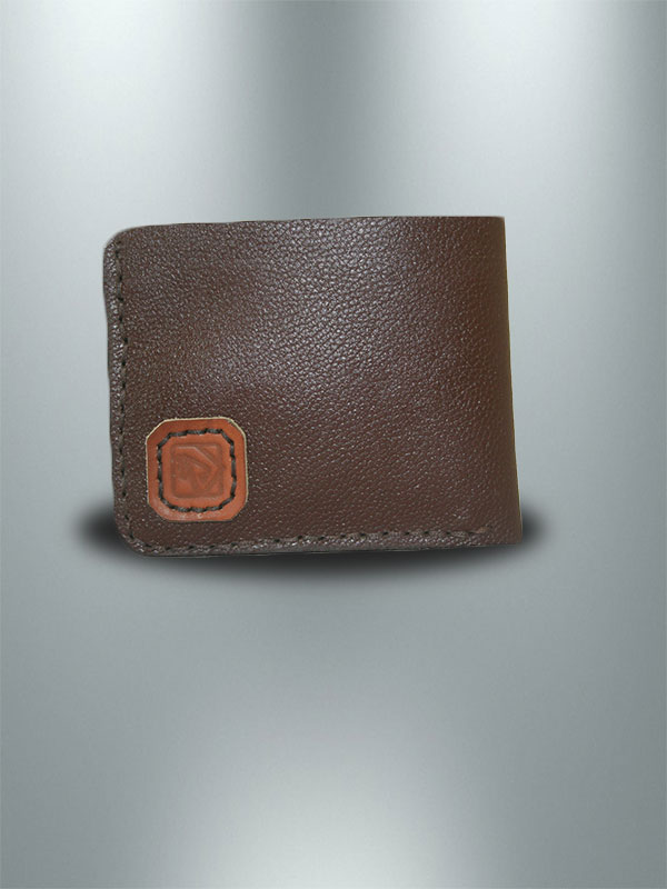 کیف پول جیبی چرمی دست دوز مردانه قهوه ای مستطیلی